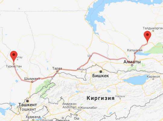 маршрут поезда Туркестан - Сары-Озек