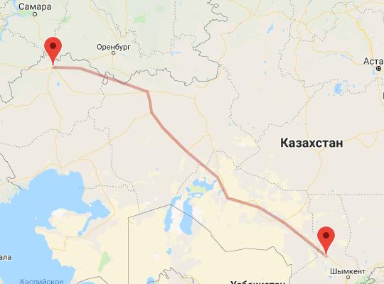 маршрут поезда Туркестан - Уральск