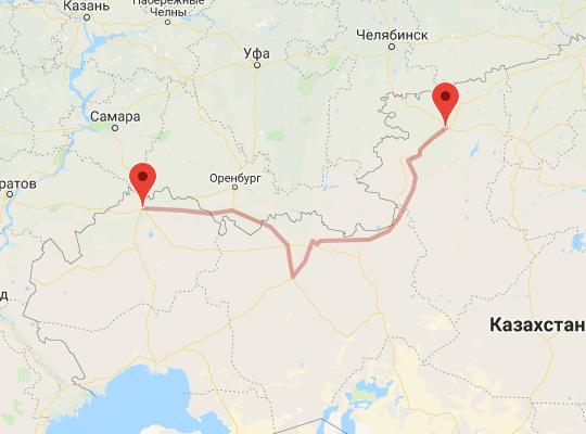 маршрут поезда Костанай - Уральск