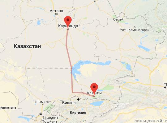 маршрут поезда Алматы - Караганда