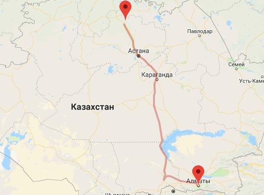 маршрут поезда Алматы - Боровое