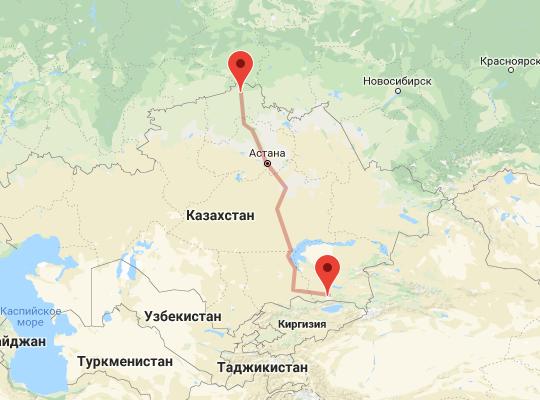 маршрут поезда Алматы - Петропавловск