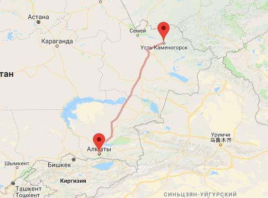 маршрут поезда Алматы - Защита
