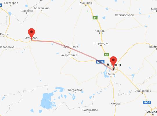 маршрут поезда Астана - Атбасар