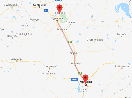 маршрут поезда Астана - Боровое