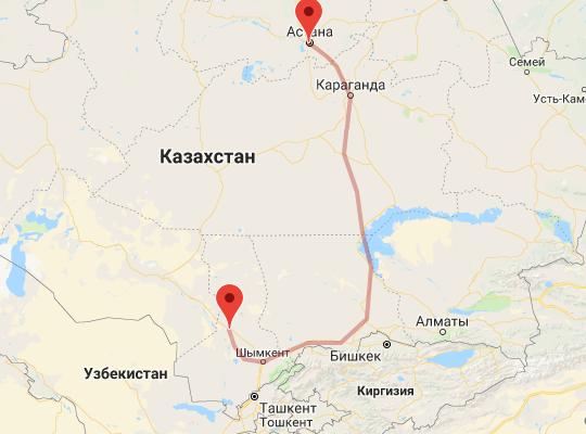 маршрут поезда Туркестан - Астана