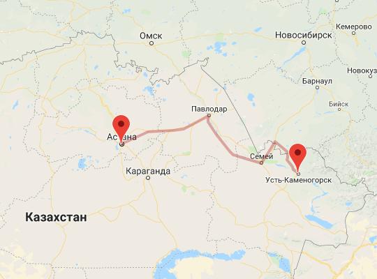 маршрут поезда Астана - Защита (Усть-Каменогорск)