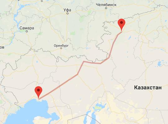 маршрут поезда Атырау - Костанай