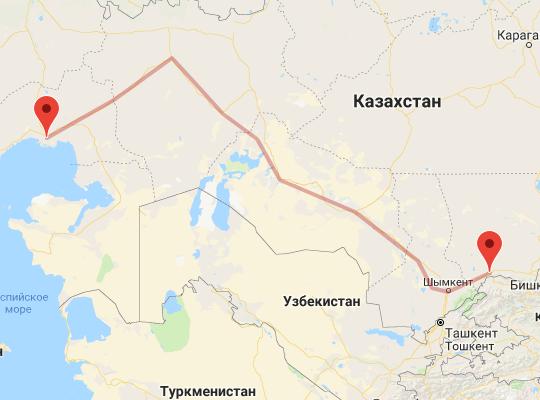 маршрут поезда Атырау - Тараз