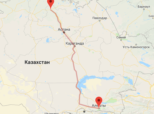 маршрут поезда Кокшетау - Алматы