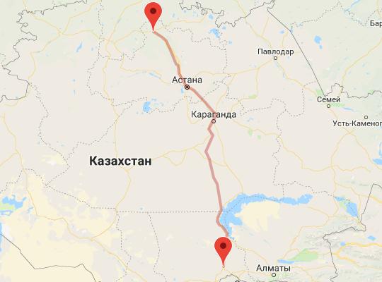 маршрут поезда Кокшетау - Шу