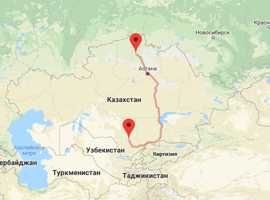 маршрут поезда Туркестан - Кокшетау