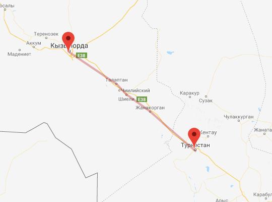 маршрут поезда Кызылорда - Туркестан