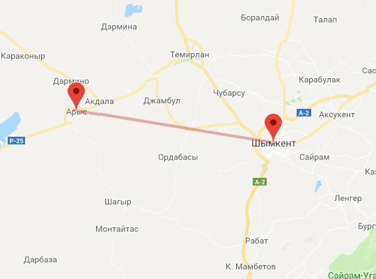 маршрут поезда Шымкент - Арыс