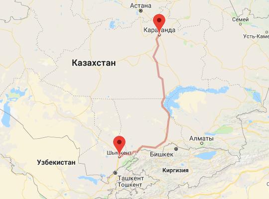маршрут поезда Шымкент - Караганда