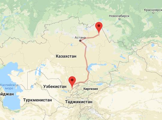 маршрут поезда Сарыагаш - Павлодар