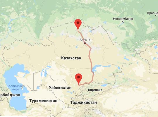 маршрут поезда Шымкент - Кокшетау