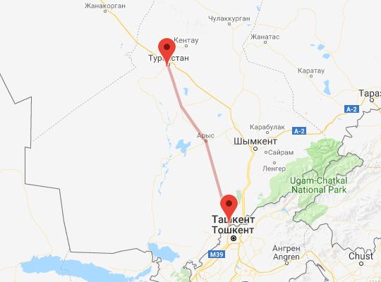 маршрут поезда Сарыагаш - Туркестан