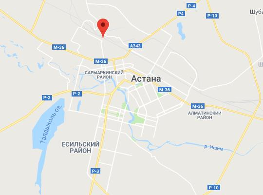 жд станция Астана-1 на карте