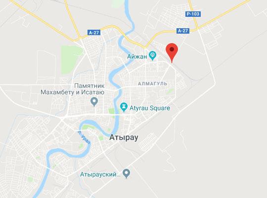 ЖД вокзал Атырау на карте