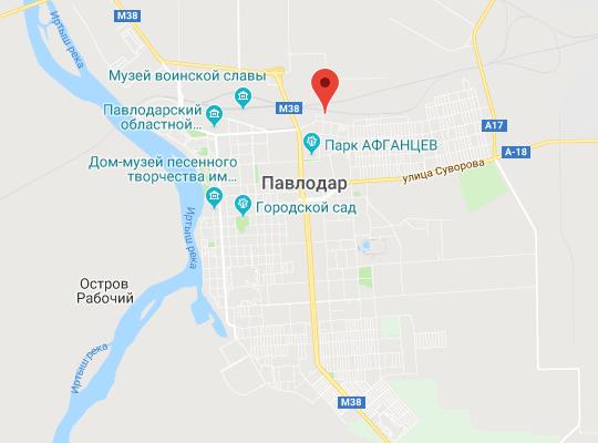 жд станция Павлодара на карте