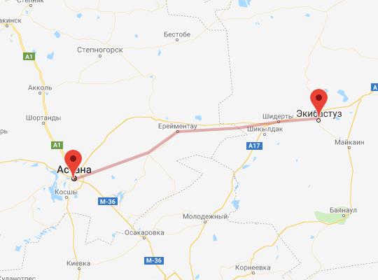 маршрут поезда Экибастуз - Астана
