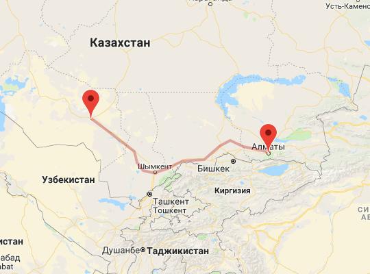 маршрут поезда Кызылорда - Алматы