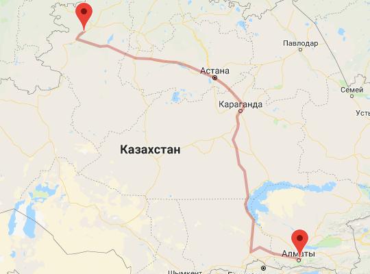 маршрут поезда Рудный - Алматы