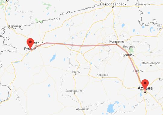 маршрут поезда Рудный - Астана