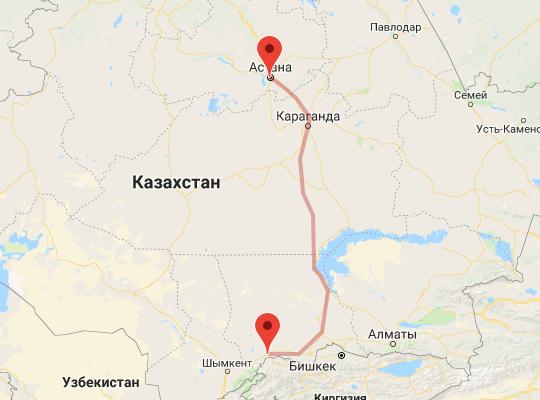 маршрут поезда Тараз - Астана