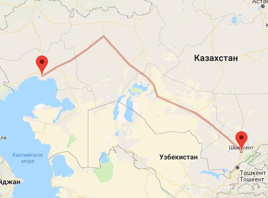 маршрут поезда Атырау - Шымкент