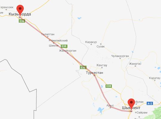 маршрут поезда Кызылорда - Шымкент