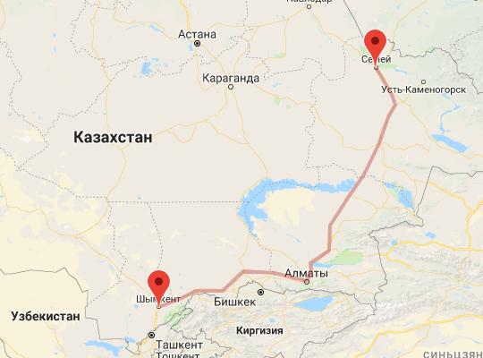 маршрут поезда Семей- Шымкент
